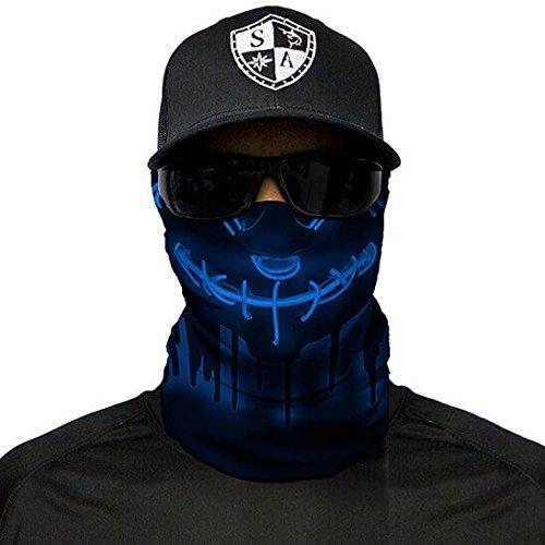 SA Fishing Company Face Shield Sturmhaube viele verschiedene Designs Multiunktionstuch Maske Fishing Totenkopf Schal Skull Bandana Gesichtsmaske Halstuch Ski Motorrad Paintball (Neon Purge Blue)