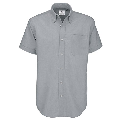B&C Oxford Hemd für Männer, kurzarm (3XL) (Silbermond) 3XL,Silbermond