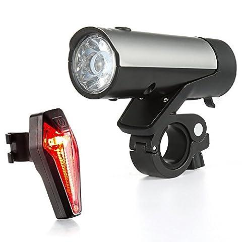 Fahrrad Licht Set, Premium LED Fahrradbeleuchtung ist USB wiederaufladbar durch Samsung Li-ion Akkus betrieben,1. Wahl von Profis & MTBs zum sicheren Radfahren von Kingsway Infinity. (60 LUX)