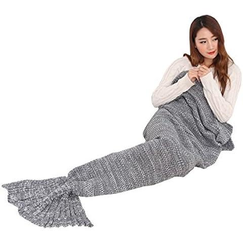 Cola de sirena de punto manta para adultos muchos colores disponibles 195* 95cm gris Gris