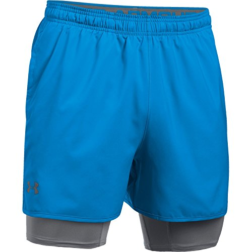 Under Armour Qualifier 2 in 1 Running Shorts Large Mako Blue