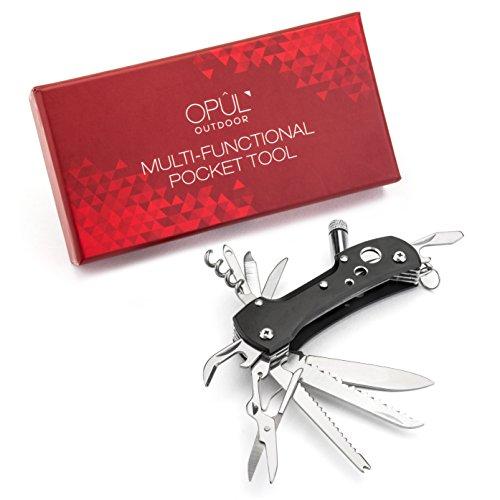 Schweizer Taschenmesser Multitool - Outdoor Messer Taschenwerkzeug - Schnitzmesser, Camping Messer und Multifunktionswerkzeug mit 12 Funktionen von Opul