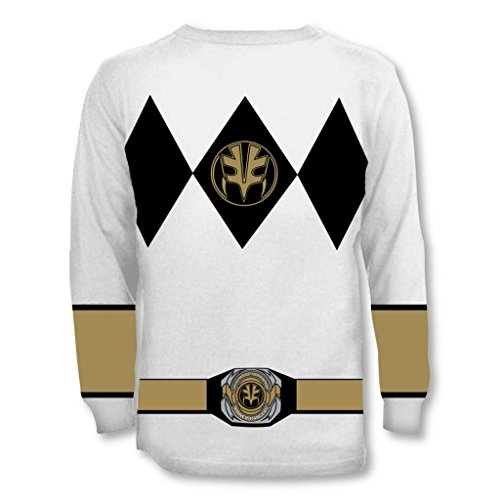 Power Rangers Long Sleeve Ranger Kostüm Weiß T-shirt (Ranger Power Kostüm Samurai)
