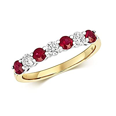 9ct Yellow Gold 2.5mm Ruby & Diamond Eternity Ring Size J - Q - British Made - Hallmarked