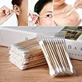 Wood Cotton Head Health Makeup Cosmetics Ear Clean Jewelry Cleaner Cotton Swab Stick