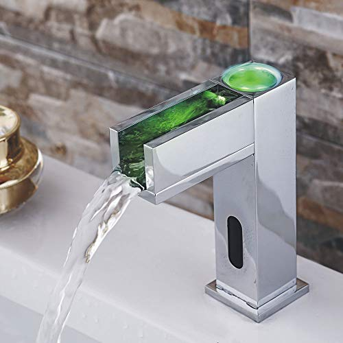 Sanlingo – Waschtisch-Sensorarmatur, Mischbatterie, Batteriebetrieb, Wasserfall, LED-Beleuchtung, Chrom - 3