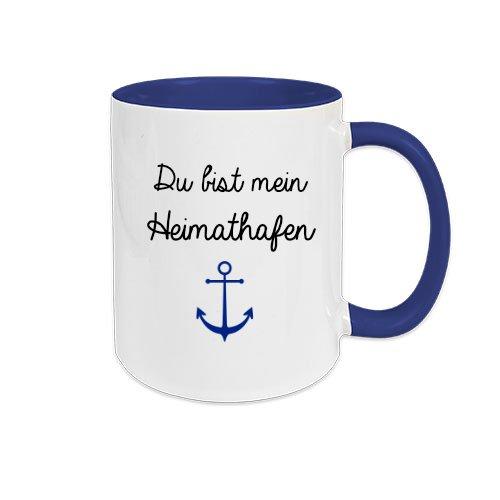 Du bist mein Heimathafen I Tasse mit Spruch I Große Kaffeetasse I persönliches Geschenk für den Freund, Freundin, Partner, Partnerin, Ehefrau, Ehemann I Maritim I Anker I Keramik I weiß blau