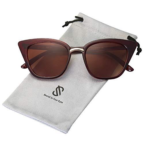 SOJOS Schick Rechteckig Katzenaugen Voll-Rahmen Sonnenbrille Damen Herren SJ2052 mit Braun Rahmen/Braun Linse