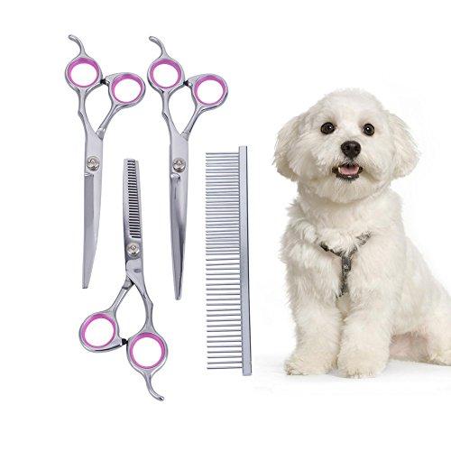 KYG 4er Professionelle Edelstahl Hund Haarschere Komplett Pflege Set Schneideschere, Effilierschere und gebogene Schere Haustier Kamm für Hunde Katzen - 6