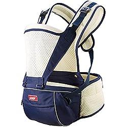 SJZC Porta Bebé Mochilas PortabebéS Multiposición de Malla Alargar el Cinturón Transpirable Taburete de Cintura,Blue