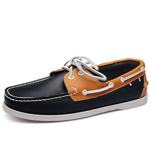Zapatos Mocasines de Cuero sin Cordones y con Cordones para Hombres Azul Amarillo 44 EU
