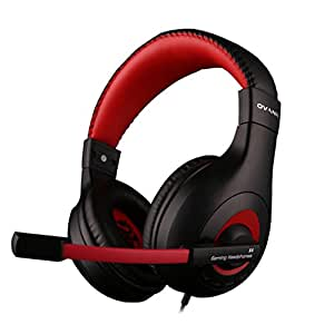 Ovann Max Stereo Gaming Headset Pc, Over-Ear Noise Cancelling Headphones con controllo del volume, microfono flessibile per Computer Game, tablet, computer portatili (Black&red-X4)