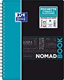 Oxford NomadBook Cahier à Spirales A4+ 160 pages Grands Carreaux Seyès Couverture Polypro Couleur Aléatoire