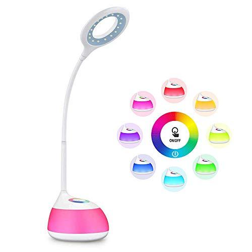 Schreibtischlampe, Touch-Kontrolle 3 Level Adjustable Helligkeit mit 256 Farben Changeable Base 5V/1A USB-Port Flexible Arm, Eye-Care LED-Lampe für Kinder, Lesestudie Relax und Sleep-Modus (Weiß)
