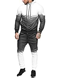 premium selection ba579 2916c Rosennie Mens Tracksuit,Men Autumn Winter Fashion Casual Hooded Warm Long  Sleeve Padded Velvet Outwear Sport Loose Pocket Slim Patchwork…