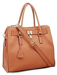 BOVARI - Golden Padlock Bag /bolso al hombro /bolso de asas - Bolso en piel Saffiano whiskey - 37x30x16 cm