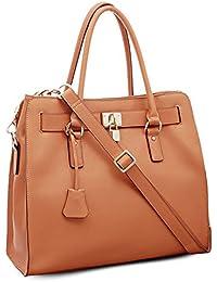 BOVARI sac à main Golden Padlock Bag - cuir de veau à imprimé saffiano - 37x30x16cm - couleur: whiskey