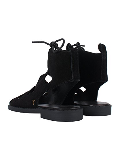 Windsor Smith Razer Black Suede - Sandales Noires lacées Noir