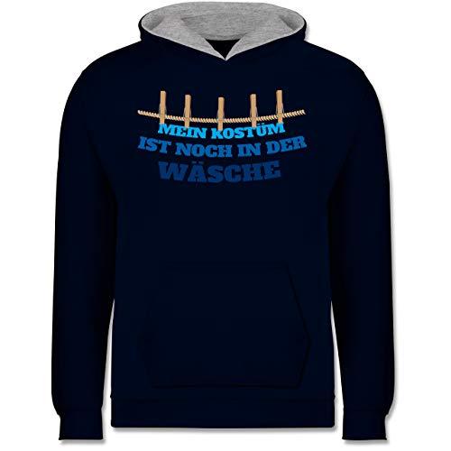 Shirtracer Karneval & Fasching Kinder - Mein Kostüm ist noch in der Wäsche Wäscheleine blau - 9-11 Jahre (140) - Navy Blau/Grau meliert - JH003K - Kinder Kontrast ()