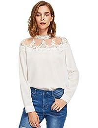 ROMWE Damen Elegant Chiffon Bluse mit Spitze Applikation Langarm Shirt  Oberteil Bluse fabe09a3d8