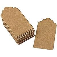 Etiquetas de cartón pequeñas en blanco (estilo rústico, 40 x 70 mm, papel kraft, borde festoneado), color marrón