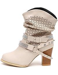 Zapatos Mujer Otoño invierno alto talón,Sonnena ❤ Botas de mujer otoño invierno ahueca hacia fuera del tobillo Zapatos…