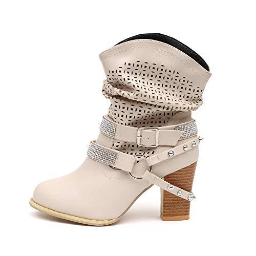 Botines de Mujer Zapatos Mujer Invierno ZARLLE Moda Ahueca hacia Fuera Botines Señoras Talón Mitad...