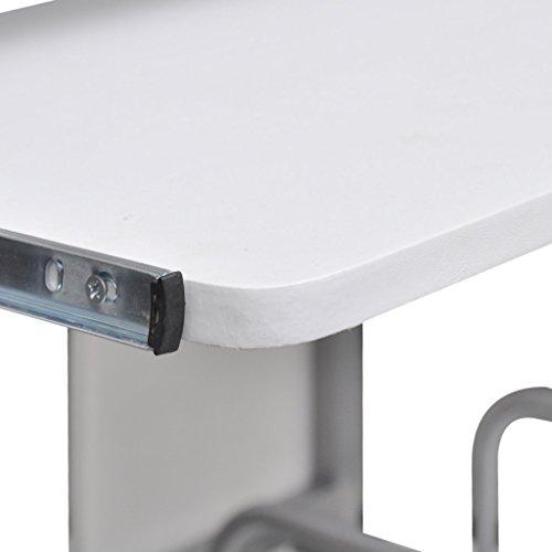 Anself Computerwagen Computertisch mit Ablageflächen und Tastaturauszug 120 x 60 cm Weiß
