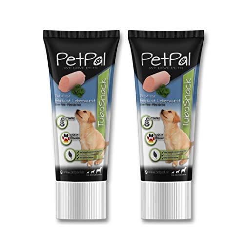 PetPäl Hunde Leberwurst in der Tube Leckerli TuboSnack Premium - 2er Pack | Leckerlie getreidefrei für den Hund - Auch für Welpen | Natürlicher Hundeleckerli Snack - Made in Germany