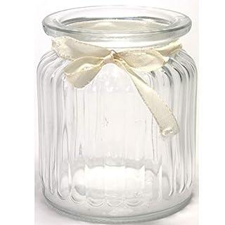 Annastore 12 x Windlichter 9 cm geriffelt mit cremefarbenem Band und 12 Herzen mit Öse zum Hängen - Dekoband und Herzen Werden als Beigabe seperat mitgeliefert - Vasen - Teelichtgläser