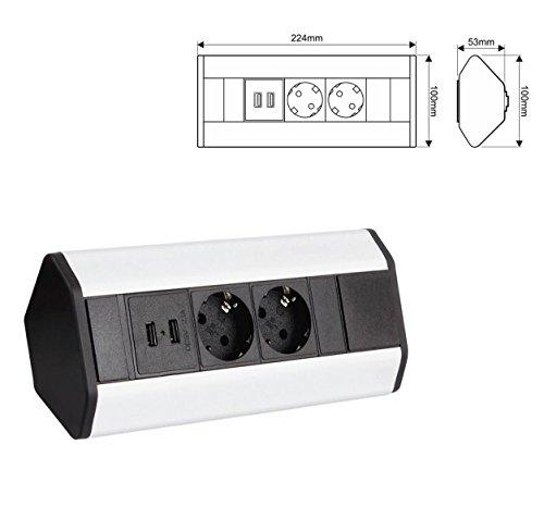 DesignLight CORNERBOX Aluminium SchuKo 2-fach mit USB Steckdose 2-fach / Ecksteckdose / Mehrfachsteckdose