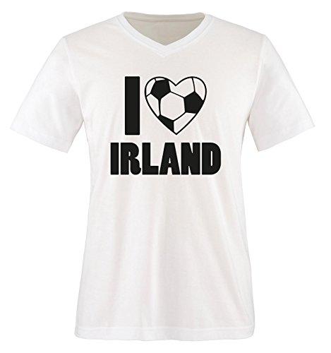 I Love Irland - Herren V-Neck T-Shirt - Weiss/Schwarz Gr. XXL -