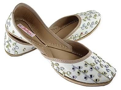 Fulkari Prime Glowing Beige Gold Women's Soft Leather Bite and Pinch Free Punjabi Flat Ladies Jutti Ethnic Mojari Shoe Jutis 35
