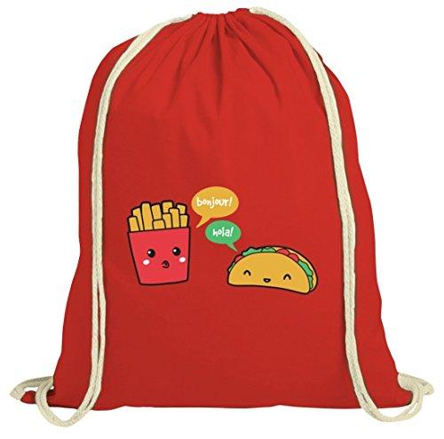 Lustiger natur Turnbeutel mit Taco Pommes Motiv von ShirtStreet Rot Natur