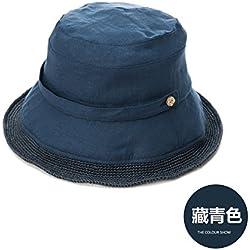 LLZTYM Chapeau/Femme/Été/Parasol/Pliable/Crème Solaire/Plage/Plage/Chapeau De Paille/Cadeau, 57Cm, V Bleu