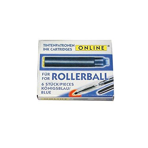 Online 17000/48 - Tintenpatronen für Rollerball, 6 Stück, königsblau
