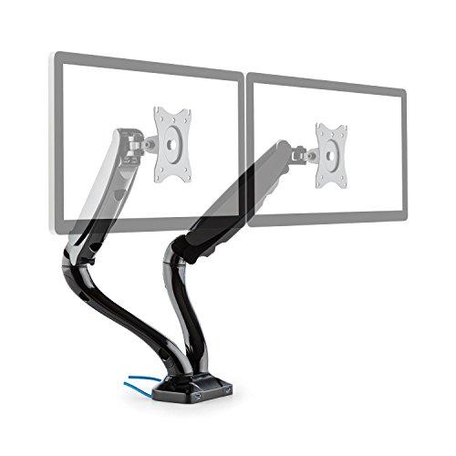 auna LDT09-C012USB Doppel-Monitor Tischhalterung Displayhalterung LED LCD Monitor 33-68 cm Diagonale, Belastbarkeit max. 6 kg (2 x USB-Anschlüsse, dreh-, neig-, Schwenk- und rotierbar, Montage-Kit) - Schwenk-montage