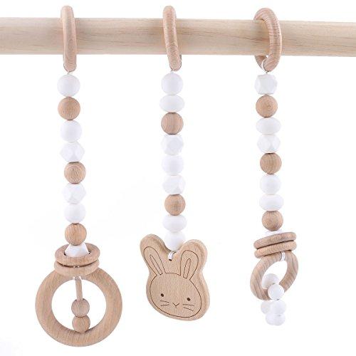 baby tete Anillo de Dentición del Bebé Mordedor de Madera Gym Pram Toy 3pcs Toddler BPA Free Beech Beads Charms Juguetes Montessori Serie Blanca