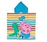 Peppa Wutz Schorsch Badetuch, Handtuch, Poncho mit Kapuze für Kinder aus Baumwolle