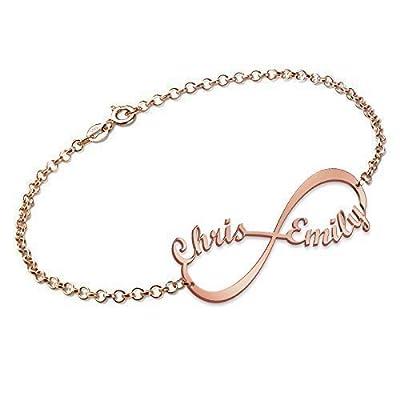 Bracelet Infini avec 2 prénoms en Plaqué Or Rose, Personnalisation Gratuite avec 2 Noms de votre choix