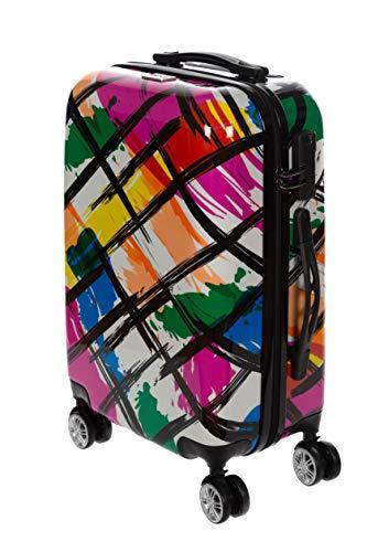 Birendy Reisekoffer Polycarbonat Hartschalen Hardcase Trolley mit Zahlenschloss Koffer Kofferset 4 Rollen einfacher Transport (99-Schwarz Bunt, L - Handgepäck 55x35cm)