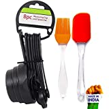 Bulfyss Popular Combo - 8Pcs Black Measuring Cups and Spoons Set, Silicone Series Spatula and Brush Set