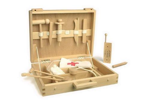 Hochwertiger Arztkoffer aus Holz, mit reichhaltigem Zubehör (Spritzen, Hämmerchen, Wattebällchen und Co.), Must-Have für kleine Ärzte ab 3 Jahre