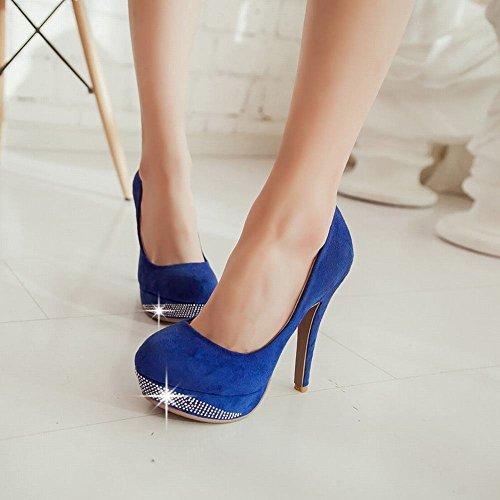 Mee Shoes Damen modern elegant reizvoll Nubukleder runder toe mit Strass Plateau Pumps mit hohen Absätzen Blau