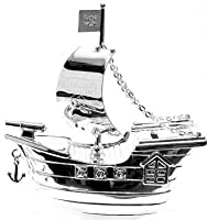 Silver Plated Pirate Ship Money Box.A beautiful yet slightly unusual christening gift idea for a newborn.Photo can not capture the full detail. Gift boxed.A lovely delicate keepsake. Other designs available.Measures approximately: 13cm tall x...