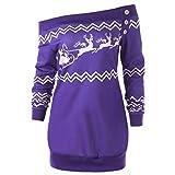 Luckycat Weihnachtspullover Damen Frohe Weihnachten Santa Snowflake Print Off Schulter Tops Pullover Langarm Lange Bluse Shirt Kleid Sweatshirt