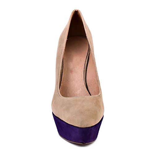 EKS Damen Fashion Round Toe Mehrfarbig Keil Pumps High Heels Schuhe Aprikose