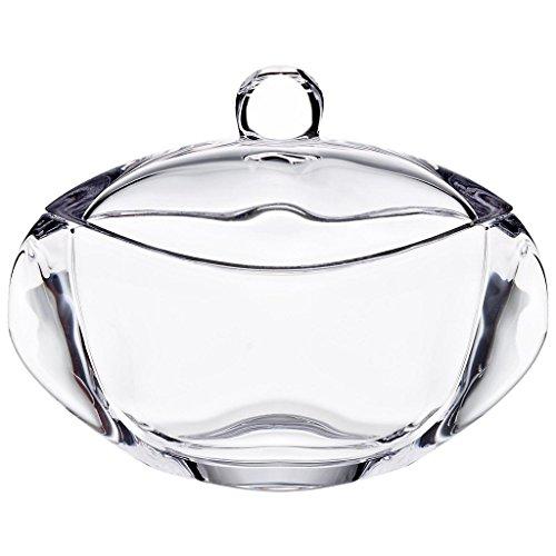 CRISTALICA Dose mit Deckel Bomboniere Orbit Transparent Oval Kristallglas