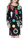 BesserBay Mädchen Kleider Weihnachten Langarm Kleid Festlich Partykleid A-Linie Kleid 2-12 Jahre, Party, XS (2-4 Jahre)