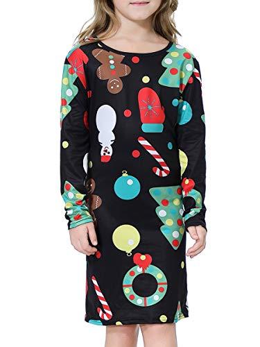 BesserBay Mädchen Kleider Weihnachten Langarm Kleid Festlich Partykleid A-Linie Kleid 2-12 Jahre, Party, M (7-8 Jahre)
